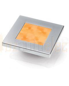 Hella Marine 2XT980587-061 Amber LED Square Courtesy Lamp - 12V DC, Satin Chrome Plated Rim