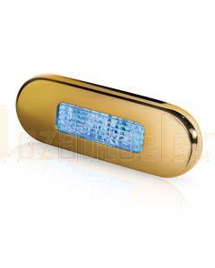 Hella Marine 2XT959680-621 Blue LED Oblong Step Lamp - 10-33V DC, Gold Stainless Steel Rim