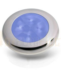 Hella 2XT980502221 12V Blue LED Round Courtesy Lamps with Polished Stainless Steel Rim