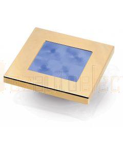 Hella Marine 2XT980582-231 Blue LED Square Courtesy Lamp - 12V DC, Gold Plated Rim