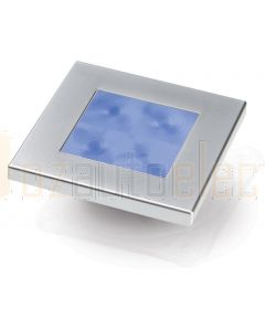 Hella Marine 2XT980582-261 Blue LED Square Courtesy Lamp - 12V DC, Satin Chrome Plated Rim