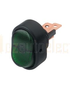 Hella Compact On-Off Rocker Switch - Green Illuminated, 12V (4473)