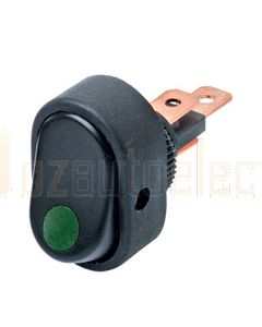 Hella Compact Off-On Rocker Switch - Green Illuminated, 12V (4477)