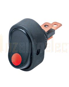 Hella Compact Off-On Rocker Switch - Red Illuminated, 12V (4478)