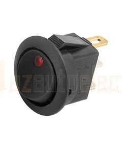 Hella Compact Off-On Rocker Switch - Red LED, 12V DC (4448)