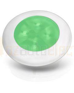 Hella 2XT980502041 12V Green LED Round Courtesy Lamps with White Plastic Rim