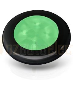 Hella 2XT980503051 24V Green LED Round Courtesy Lamps with Black Plastic Rim