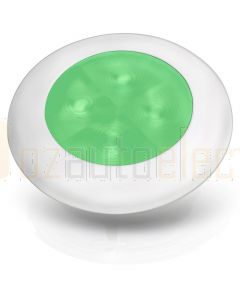 Hella 2XT980503041 24V Green LED Round Courtesy Lamps with White Plastic Rim