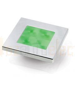 Hella Marine 2XT980583-071 Green LED Square Courtesy Lamp - 24V DC, Chrome Plated Rim