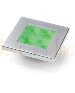 Hella Marine 2XT980583-061 Green LED Square Courtesy Lamp - 24V DC, Satin Chrome Plated Rim