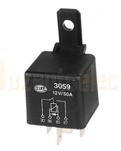 Hella 3059 Normally Open 4 Pin 12VDC 50A Relay with Diode Protection
