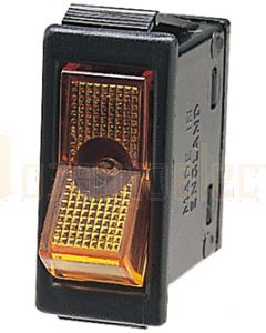 Hella Off-On Rocker Switch - Amber Illuminated, 12V (4430)