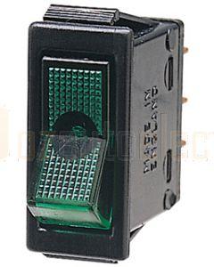 Hella Off-On Rocker Switch - Green Illuminated, 12V (4428)