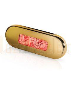 Hella Marine 2XT959680-721 Red LED Oblong Step Lamp -  8-28V DC, Gold Stainless Steel Rim