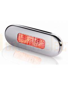 Hella 2XT959680-711 Red LED Oblong Step Lamp - 8-28V DC, Polished Stainless Steel Rim
