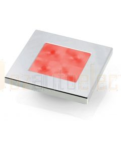 Hella Marine 2XT980588-271 Red LED Square Courtesy Lamp - 24V DC, Chrome Plated Rim