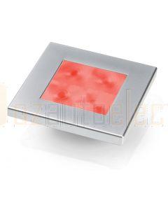 Hella Marine 2XT980588-261 Red LED Square Courtesy Lamp - 24V DC, Satin Chrome Plated Rim
