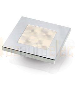 Hella Marine 2XT980580-771 Warm White LED 'Enhanced Brightness' Square Courtesy Lamp - 12V DC, Chrome Plated Rim