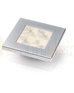 Hella Marine 2XT980580-761 Warm White LED 'Enhanced Brightness' Square Courtesy Lamp - 12V DC, Satin Chrome Plated Rim