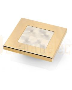 Hella Marine 2XT980581-731 Warm White LED 'Enhanced Brightness' Square Courtesy Lamp - 24V DC, Gold Plated Rim