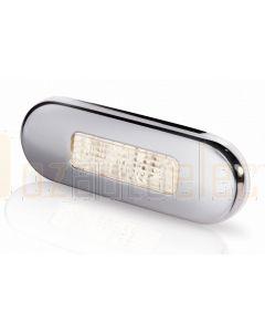 Hella Marine 2XT959680-411 Warm White LED Oblong Step Lamp - 10-33V DC, Polished Stainless Steel Rim