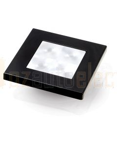 Hella Marine 2XT980580-541 White LED 'Enhanced Brightness' Square Courtesy Lamp - 12V DC, Black Plastic Rim