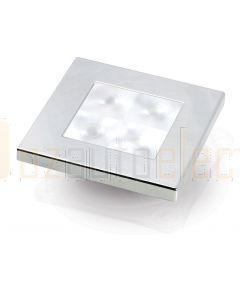 Hella Marine 2XT980580-571 White LED 'Enhanced Brightness' Square Courtesy Lamp - 12V DC, Chrome Plated Rim