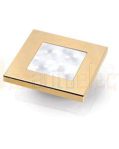 Hella Marine 2XT980580-531 White LED 'Enhanced Brightness' Square Courtesy Lamp - 12V DC, Gold Plated Rim