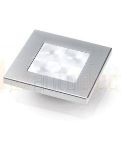 Hella Marine 2XT980581-561 White LED 'Enhanced Brightness' Square Courtesy Lamp - 24V DC, Satin Chrome Plated Rim