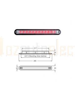 Hella 95907375 Wide Rim Strip LED - Red Illuminated, 24V DC