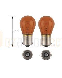 Narva 47383BL Indicator Globes 12V 21W Amber BA15s (2)