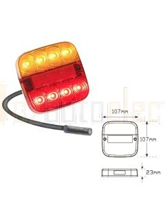LED Autolamps 99AR4P Stop/Tail/Indicator/Reflector Combination Lamp with 4 pin plug