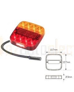 LED Autolamps 99ARL4.0 Stop/Tail/Indicator/Reflector/Licence Combination Lamp - 4m Cable (Poly Bag)