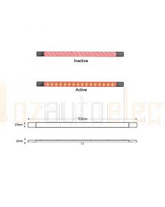 LED Autolamps 530R12 LED Stop Tail Lamp 530mm 12V