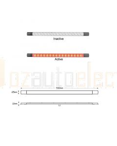 LED Autolamps 530RC12B LED Stop Tail Lamp 530mm 12V