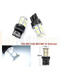 LED T20 Wedge Globe W21/5W 7443 13xSMD 5050 LED's 12VDC
