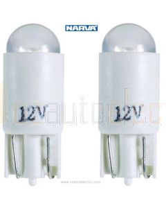 Narva L.E.D Wedge Globes (2) - White, 12v T-10mm KW2.1 x 9.5d