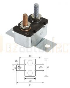 Narva 54650BL Metal Automatic Circuit Breaker - 50Amp (Blister Pack of 1)