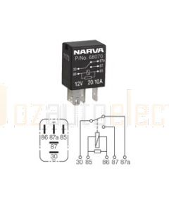 Narva 68070BL 12V 20/10 Amp 5 Pin Micro Change-Over Relay Resistor Protection