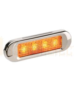 Narva 90824 10-30 Volt L.E.D Front End Outline Marker Lamp (Amber) with Stainless Steel Cover and 0.5m Cable