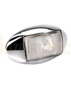 Narva 91414CBL 10-33 Volt L.E.D Front End Outline Marker Lamp (White) with Oval Chrome Deflector Base and 0.5m Cable (Blister Pack)