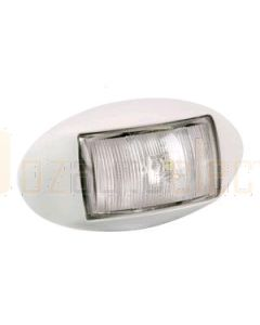 Narva 91414W 10-33 Volt L.E.D Front End Outline Marker Lamp (White) with Oval White Deflector Base and 0.5m Cable