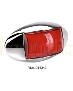 Narva 91434C 10-33 Volt L.E.D Rear End Outline Marker Lamp (Red) with Oval Chrome Deflector Base and 0.5m Cable