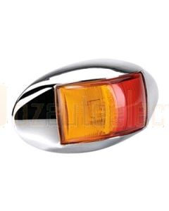 Narva 91404CBL 10-33 Volt L.E.D Side Marker Lamp (Red / Amber) with Oval Chrome Deflector Base and 0.5m Cable (Blister Pack)
