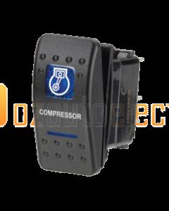 Narva 63140BL 12 Volt Illuminated Off/On Sealed Rocker Switch with Compressor Symbol