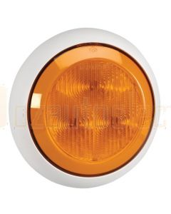 Narva 12 Volt L.E.D Rear Direction Indicator Lamp (Amber) with 0.3m Hard-Wired Cable and Contoured 150mm White Base (94330W-12)