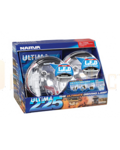 Ultima 225 H.I.D Combination Driving Lamp Kit 12 Volt 50W with L.E.D Position Light, 225mm dia. Broad Beam, Pencil Beam - Blister Pack