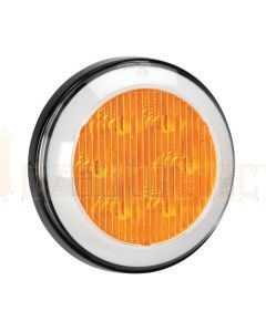 Narva 94313 9-33 Volt L.E.D Front Direction Indicator and Front Position Lamp (Amber/White) with 0.5m Hard-Wired Sheathed Cable and Black Base
