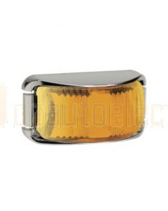 Narva 91622C 9-33 Volt L.E.D Front End Outline Marker or External Cabin Lamp (Amber) with Chrome Deflector Base and 0.5m Cable