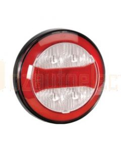 Narva 94320 9-33 Volt L.E.D Rear Direction Indicator and Reverse Lamp with Red L.E.D Stop / Tail Ring, In-built Retro Reflector, 0.5m Hard-Wired Sheathed Cable and Black Base